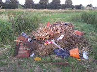 Fly tipped rubbish on the SSSI